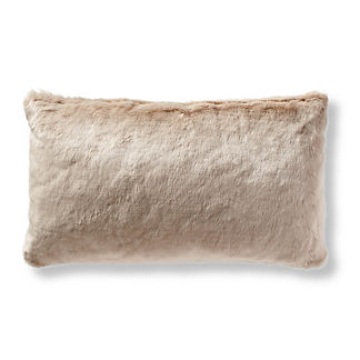 Fashion Faux Fur Matelasse Lumbar Pillow Cover in Taupe