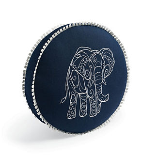 Embroidered Elephant Indoor/Outdoor Pillow