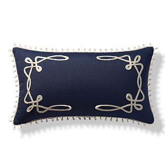 Looped Monogrammed Indoor/Outdoor Lumbar Pillow