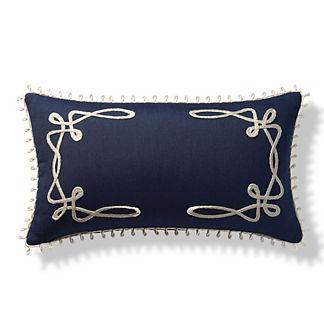 Looped Monogrammed Indoor/Outdoor Lumbar Pillow