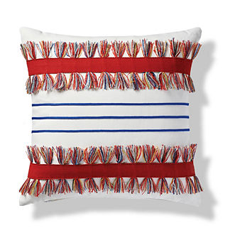 Shadow Stripe Indoor/Outdoor Pillow in Garnet