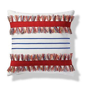 Shadow Stripe Indoor/Outdoor Pillow in Garnet