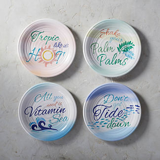 Summer Pun Melamine Plates, Set of Four