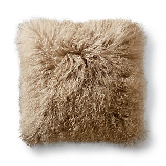 Mongolian Fur Decorative Square Pillow Cover in Dune