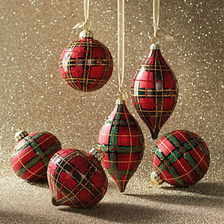 Holiday Glen Plaid Ornament Accent Kit, Set of Six Ornaments