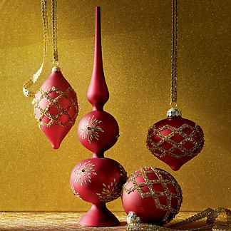 Holiday Glen Glitter Ornament Accent Kit, Set of Six Ornaments