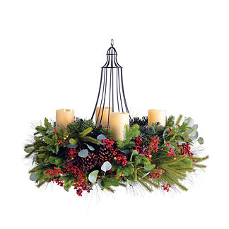 Holiday Glen Indoor Decorative Chandelier Wreath