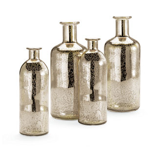 Silver Holiday Vases, Set of Four