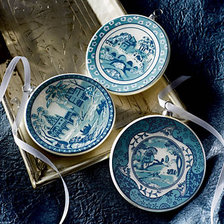 Transferware Plate Ornament Collection, Set of 12