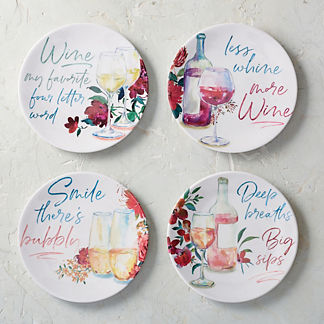 Wine Sayings Melamine Appetizer Plates, Set of Four