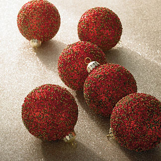 Holiday Glen Red Beaded Ornament Accent Kit, Set of Six Ornaments