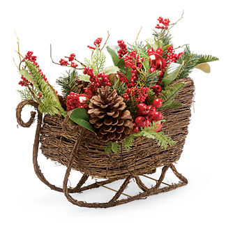 Mixed Berry Pine Cone Greenery Sleigh