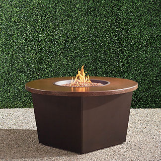 Bauer Hammered Copper Top Fire Table