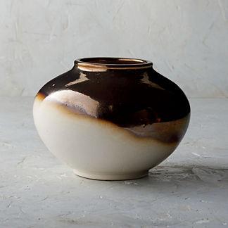 Blanc De Chine Metallic Dip Dye Round Vase