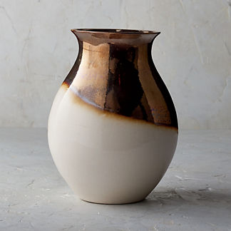 Blanc De Chine Metallic Dip-dye Shaped Vase