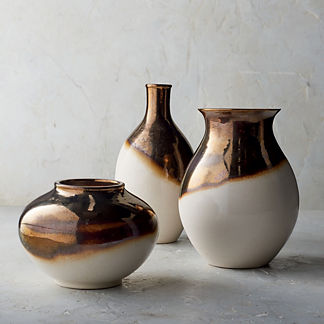 Blanc De Chine Metallic Dip-dye Vases, Set of Three