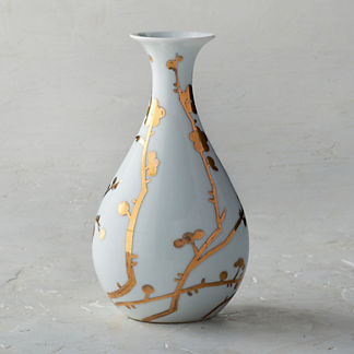 Gilded Blossoms Small Fluted Vase