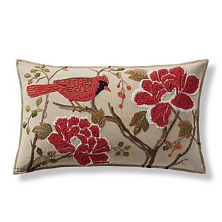 Cardinal Embroidered Decorative Lumbar Pillow Cover