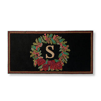 Amaryllis Wreath Monogrammed Door Mat