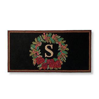 Amaryllis Wreath Monogrammed Door Mat