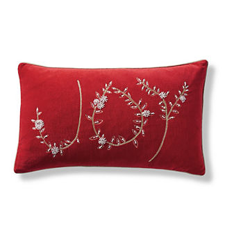 Joy Embroidered Decorative Lumbar Pillow Cover