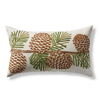 Pinecone Embroidered Decorative Lumbar Pillow Cover