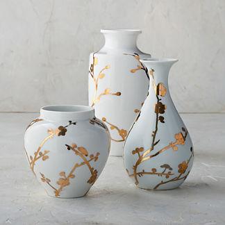 Gilded Blossoms Small Ceramics, Set of Three