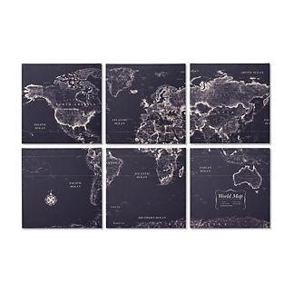 Six-panel Canvas Map