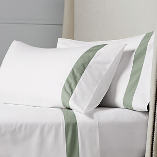 Resort Border Frame Egyptian Cotton Percale Pillowcases, Set of Two