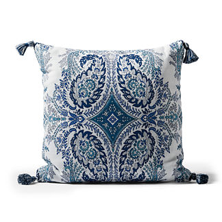 Tavaux Paisley Square Outdoor Pillow in Indigo