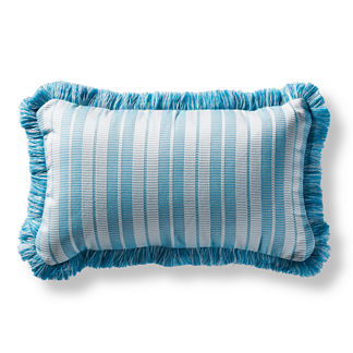 Maxim Stripe Fringed Lumbar Indoor/Outdoor Pillow