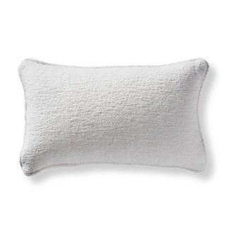 Terry Cloth Piped Lumbar Outdoor Pillow in Salt