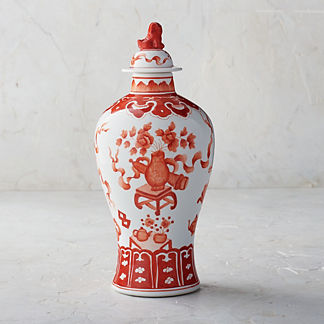 Coral Ming Small Lidded Jar