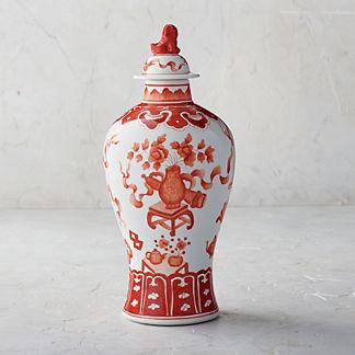 Coral Ming Small Lidded Jar
