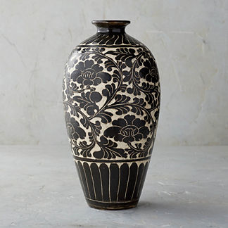 Song Noir Chinoiserie Shaped Vase