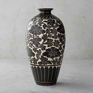 Song Noir Chinoiserie Shaped Vase
