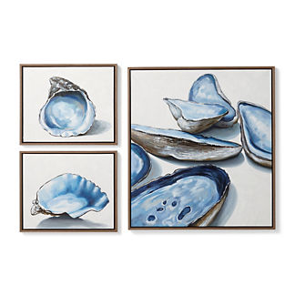 Oyster Handpainted Oil on Canvas, Set of Three