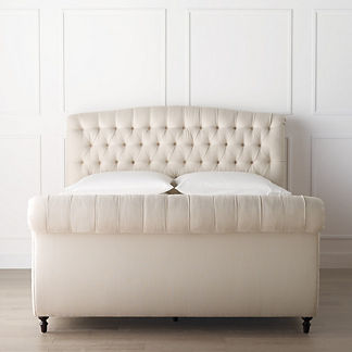 Barrow Chesterfield Upholstered Bed with High Footboard, Special Order