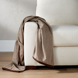 Cashmere Throw with Suede Trim by Martyn Lawrence Bullard