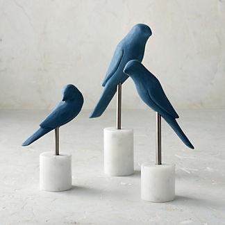 Perched Bird Statues, Set of Three
