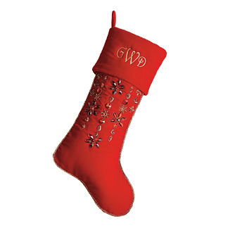 Christmas Spice Jeweled Floral Stocking