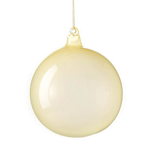 Berry and Bright Pale Yellow Glass Ball Ornament