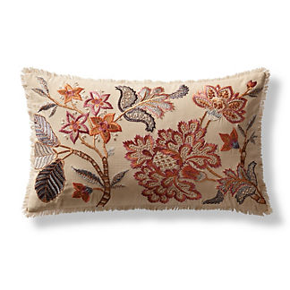 Avri Embroidered Decorative Lumbar Pillow Cover