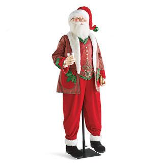Lifesize Santa with Plaid Jacket