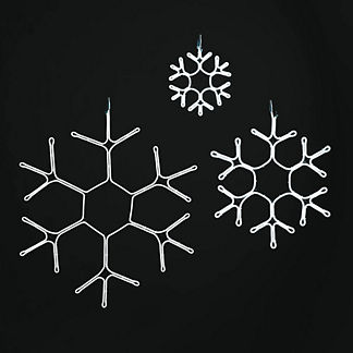 LED Neonflex Crystal Snowflakes, Set of Three