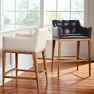 Gramercy Bar & Counter Stool with Arms in Sandstone Finish, Special Order