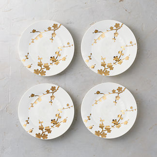 Gilded Blossoms Porcelain Side Plates, Set of Four