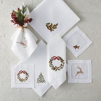 Holiday Wreath Napkins, Set of Six