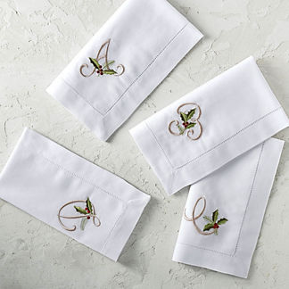 Holly Monogram Napkins, Set of Six