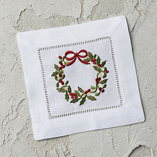 Holiday Wreath Cocktail Napkins, Set of Six